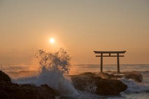 夜明けの鳥居と海の写真素材 [FYI02566158]