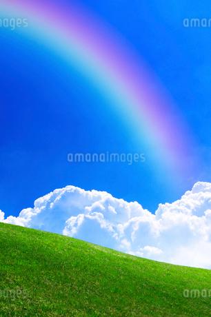 草原と青空と虹の写真素材 [FYI02569196]