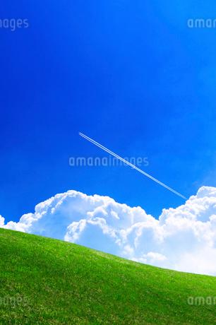 草原と青空と飛行機雲の写真素材 [FYI02569240]