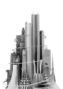 白い背景 モノトーン調の未来都市の写真素材 [FYI02569519]