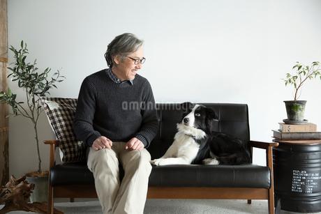 ソファで愛犬と過ごすシニア男性の写真素材 [FYI02569620]