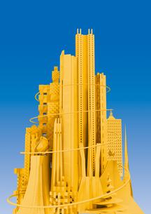 青い背景 黄色の未来都市の写真素材 [FYI02569673]