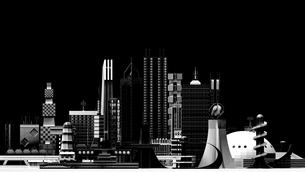 夜景 モノトーン調の未来都市の写真素材 [FYI02569701]