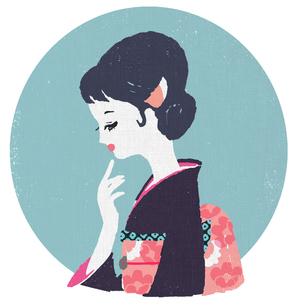 和服を着た横顔の女性のイラスト素材 [FYI02570698]