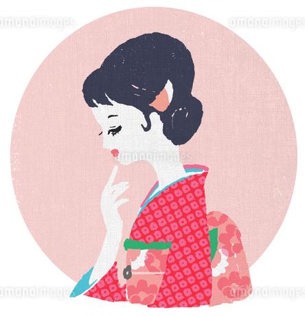 和服を着た横顔の女性のイラスト素材 [FYI02570732]