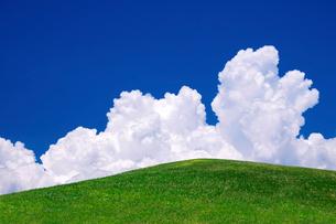 草原と青空と入道雲の写真素材 [FYI02571792]