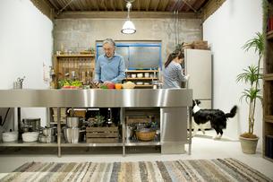 夕食の準備中をするシニアカップルの写真素材 [FYI02572060]