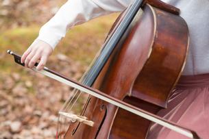 公園でチェロを弾く20代女性の写真素材 [FYI02574014]