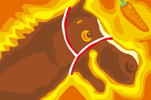 茶色の馬とニンジン イラストのイラスト素材 [FYI02595786]