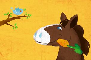 ニンジンをくわえた馬と小鳥 イラストのイラスト素材 [FYI02595868]