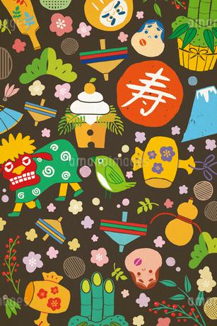 獅子舞や鏡餅の正月アイテム イラストのイラスト素材 [FYI02597033]