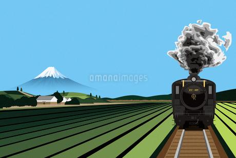 田園風景の中を走るSLと富士山 イラストのイラスト素材 [FYI02597081]