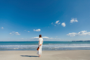 砂浜でウクレレを持って立つ女性の後姿の写真素材 [FYI02597453]