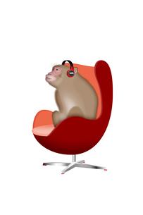 椅子に座って音楽を聴くサル イラストのイラスト素材 [FYI02597480]