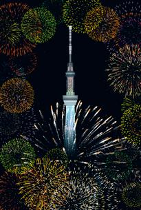 東京スカイツリーと花火 イラストのイラスト素材 [FYI02597499]