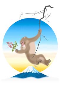 南天を持つサルと富士山 イラストのイラスト素材 [FYI02597508]