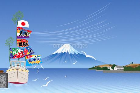 大漁旗を揚げる漁船と富士山 イラストのイラスト素材 [FYI02597522]