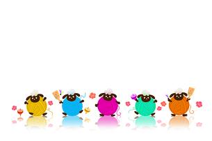 毛糸玉の羊と正月のイメージ イラストのイラスト素材 [FYI02597600]