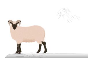 羊と富士山 イラストのイラスト素材 [FYI02597624]
