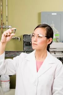scientist examining vialの写真素材 [FYI02599707]