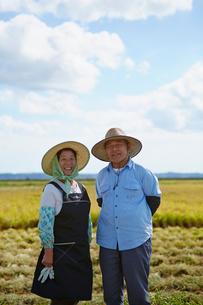秋の田園に立つ農家の夫婦の写真素材 [FYI02615509]