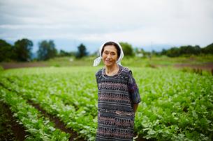 畑に立つ笑顔の農婦の写真素材 [FYI02616089]