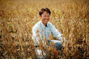 大豆畑の笑顔の農夫の写真素材 [FYI02616108]