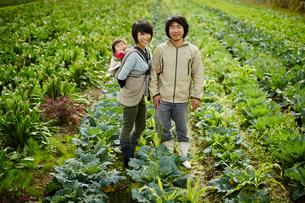 畑に立つ農家ファミリーの写真素材 [FYI02616169]