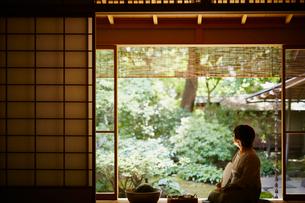 縁側に座り庭を眺めるシニア女性の写真素材 [FYI02616232]