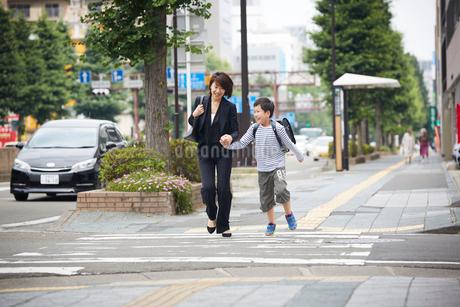 手をつなぐ男の子と母親の写真素材 [FYI02620314]