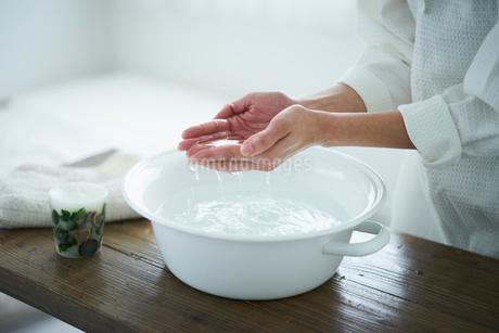 ウォッシュタブの水をすくう女性の手元の写真素材 [FYI02620519]