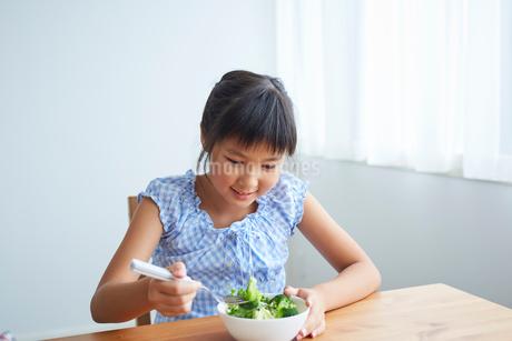 サラダを食べる女の子の写真素材 [FYI02620691]