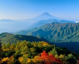 雁ヶ腹摺山の紅葉と富士山の写真素材 [FYI02621384]