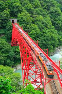 黒部峡谷 新山彦橋とトロッコ電車の写真素材 [FYI02626593]