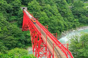 黒部峡谷 新山彦橋とトロッコ電車の写真素材 [FYI02626691]