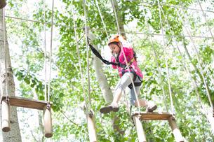 Little girl playing in tree top adventure parkの写真素材 [FYI02634994]