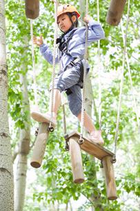 Little girl playing in tree top adventure parkの写真素材 [FYI02635059]