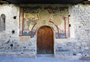 door, murals, Sant Joan Church, Boi, Vall de Boiの写真素材 [FYI02642381]