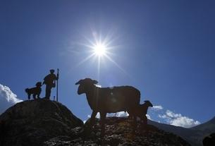 figures of shepherd and sheep, sun, Boi, Vall de Boiの写真素材 [FYI02642554]