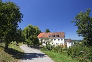 Burg Falkenstein, road, nature reserve 'Eselsburger Tal'の写真素材 [FYI02643073]