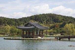 island with pavilion, Gungnamji Pond, Buyeo, Koreaの写真素材 [FYI02643338]
