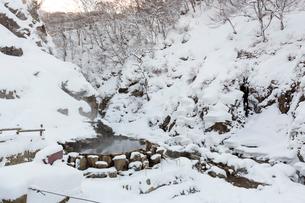 降雪のあと、早朝のサル用温泉の写真素材 [FYI02643581]