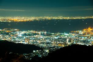 六甲山から神戸市東灘区六甲アイランド,大阪湾,大阪の夜景の写真素材 [FYI02643717]
