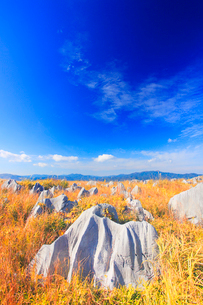 草紅葉とカルスト台地の石灰岩と雁飛山と花尾山などの山並みの写真素材 [FYI02644202]
