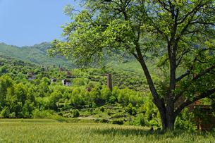 チベット族の村と望楼の写真素材 [FYI02644318]