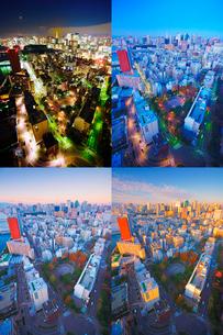 明石町から望む西南西方向のビル群と東京タワーの夜明けの写真素材 [FYI02644762]