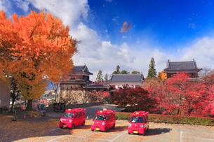 消防車と上田城とイチョウの紅葉と散る葉の写真素材 [FYI02644877]