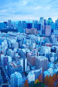 明石町から望む西南西方向のビル群と東京タワーの写真素材 [FYI02646785]