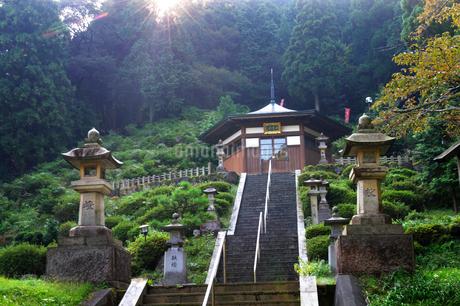 水の森瓜割 天徳寺の朝日風景の写真素材 [FYI02647121]