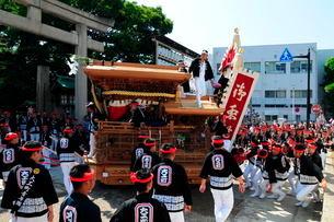 岸和田だんじり祭り宮入りの写真素材 [FYI02647211]